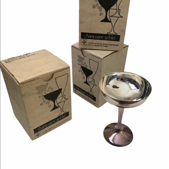 Vintage silver plated Champagne goblets. NIB